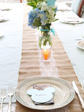 Mickey Bridal Shower - lace, burlap and mickey come together for a fun and sophisticated bridal shower!