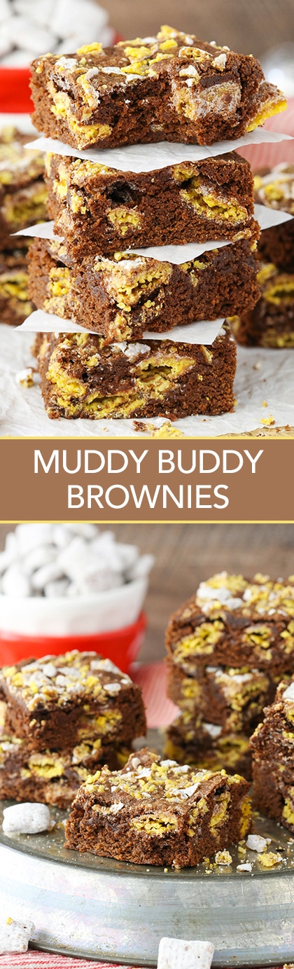 Muddy Buddy Brownies - delicious cakey brownies filled with a light crunch of muddy buddies!