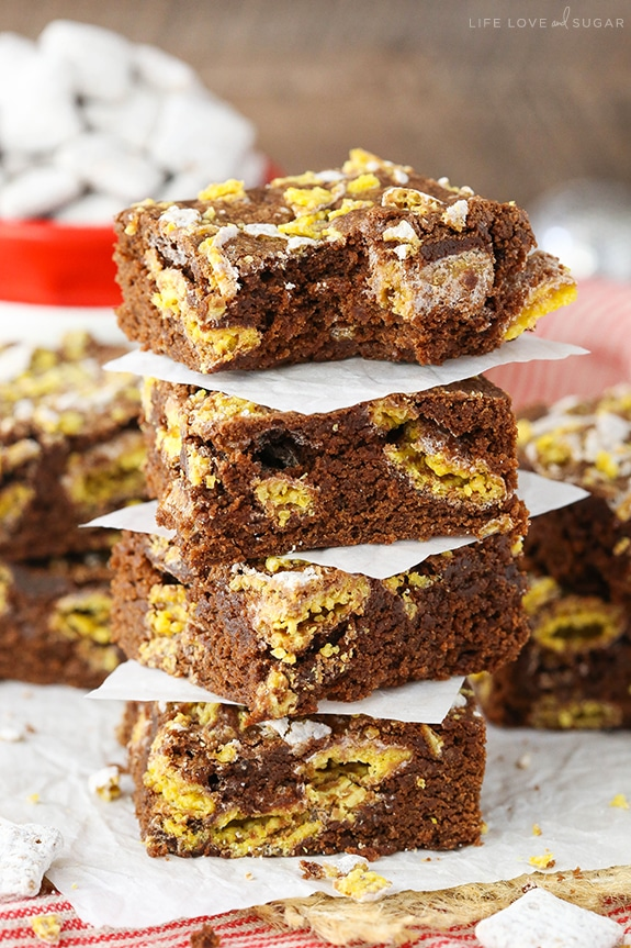 stack of Muddy Buddy Brownies with bite taken out