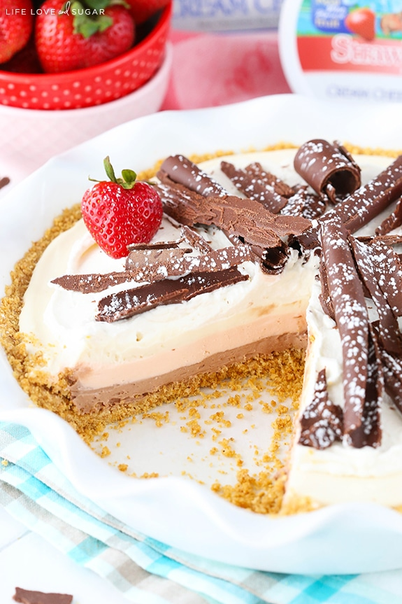 Homemade No Bake Neapolitan Cheesecake Pie
