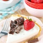 No Bake Neapolitan Cheesecake Pie slice on plate