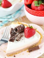 No Bake Neapolitan Cheesecake Pie - with three terrific layers, this cheesecake pie is delicious and easy to make!