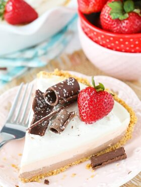 No Bake Neapolitan Cheesecake Pie slice on plate