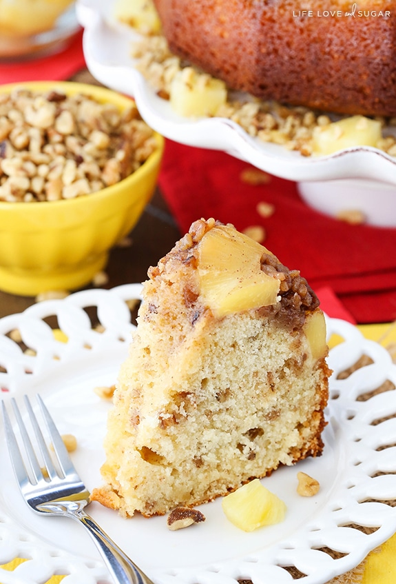 Pineapple Walnut Upside Down Bundt Cake - such a tender and moist cake!  So much flavor from the pineapple and Diamond of California walnuts!