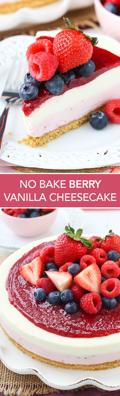 No Bake Berry Vanilla Cheesecake - a layer of berry and vanilla cheesecake, a thick graham cracker crust and a delicious berry topping! SO good! The perfect summer dessert recipe!