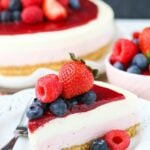No Bake Berry Vanilla Cheesecake