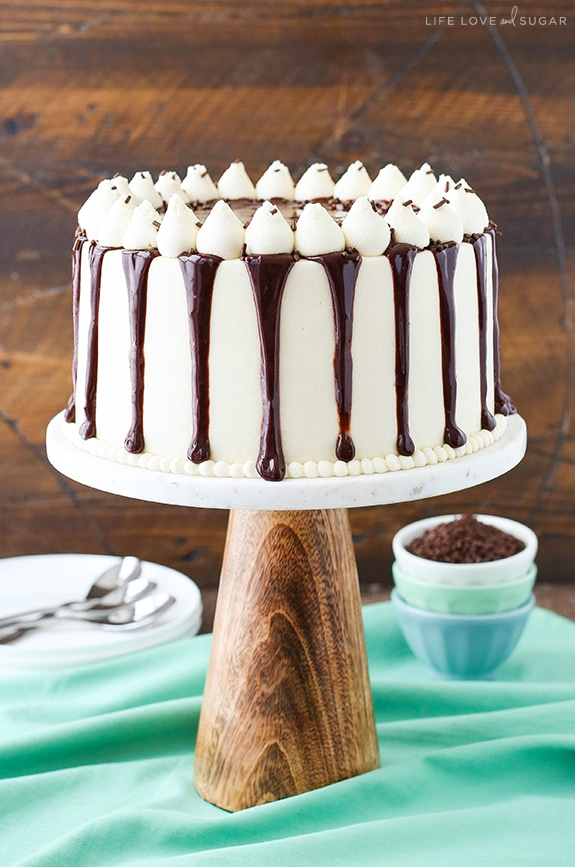 Baileys cake on a cake stand with white frosting and chocolate ganache