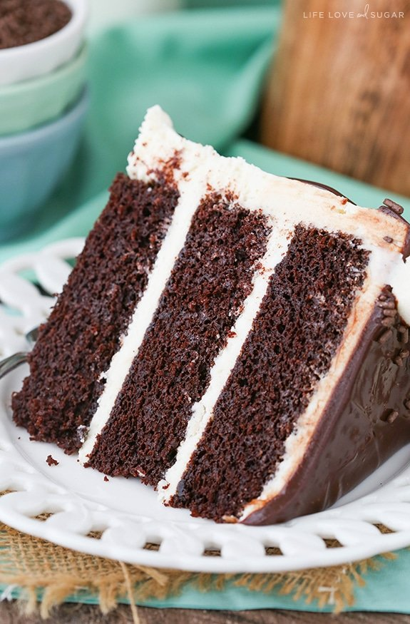 Baileys Chocolate Layer Cake - layers of chocolate cake flavored with Baileys Irish Cream and Baileys frosting! So good!
