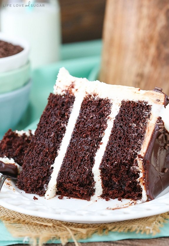 Baileys Chocolate Cake - layers of chocolate cake flavored with Baileys Irish Cream and Baileys frosting! So good!