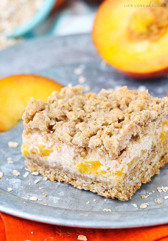 Peach Cinnamon Oatmeal Cheesecake Bars