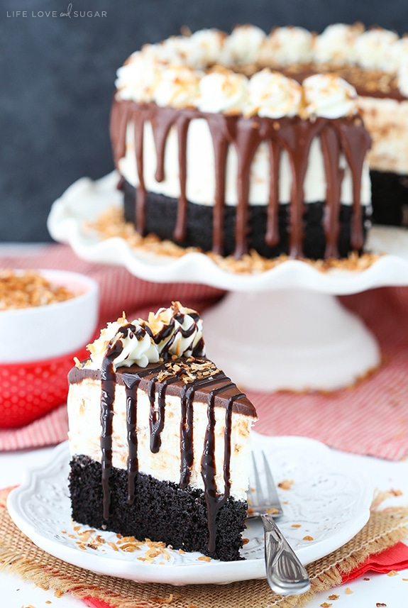Toasted Coconut Chocolate Ice Cream Cake - no churn ice cream with toasted coconut, moist chocolate cake and chocolate ganache! Such a delicious dessert recipe!