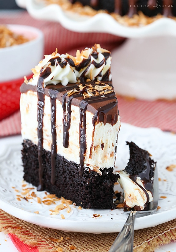 Easy Toasted Coconut Chocolate Ice Cream Cake