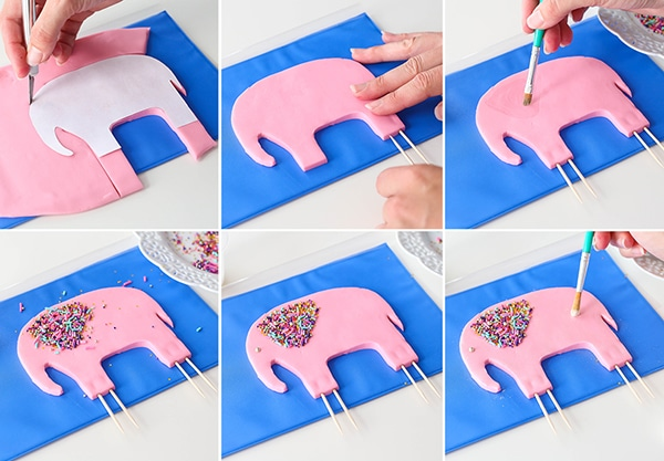 Gum Paste Elephant Tutorial for baby shower cake