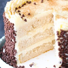 Picture of Cannoli Layer Cake with slice removed