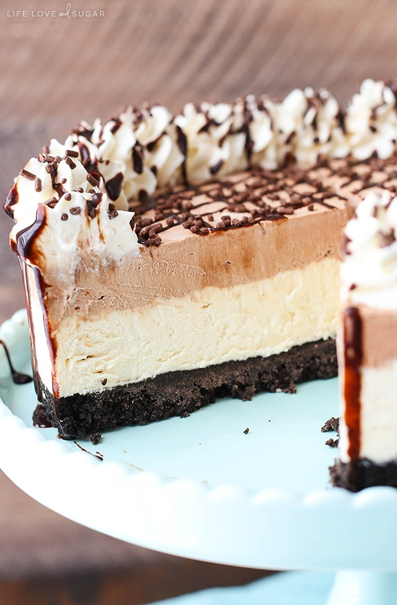 Frozen Irish Cream Mousse Cake - chocolate and Irish cream combine to make this amazing frozen cake!