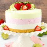 Key Lime Strawberry Coconut Ice Cream Cake