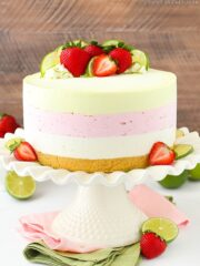 full image of Key Lime Strawberry Coconut Ice Cream Cake on cake stand