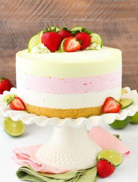 full image of Key Lime Strawberry Coconut Ice Cream Cake on cake stand