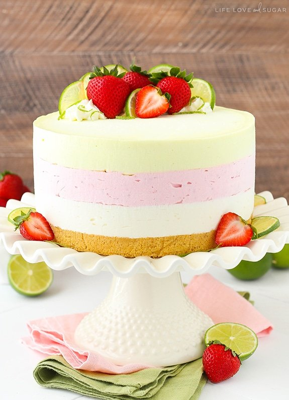 Key Lime Strawberry Coconut Ice Cream Cake
