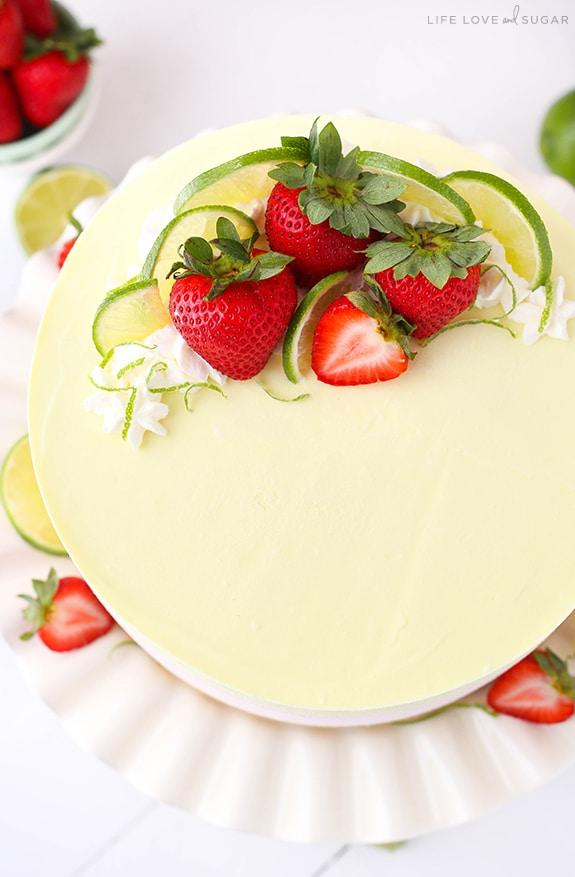 Homemade Key Lime Strawberry Coconut Ice Cream Cake
