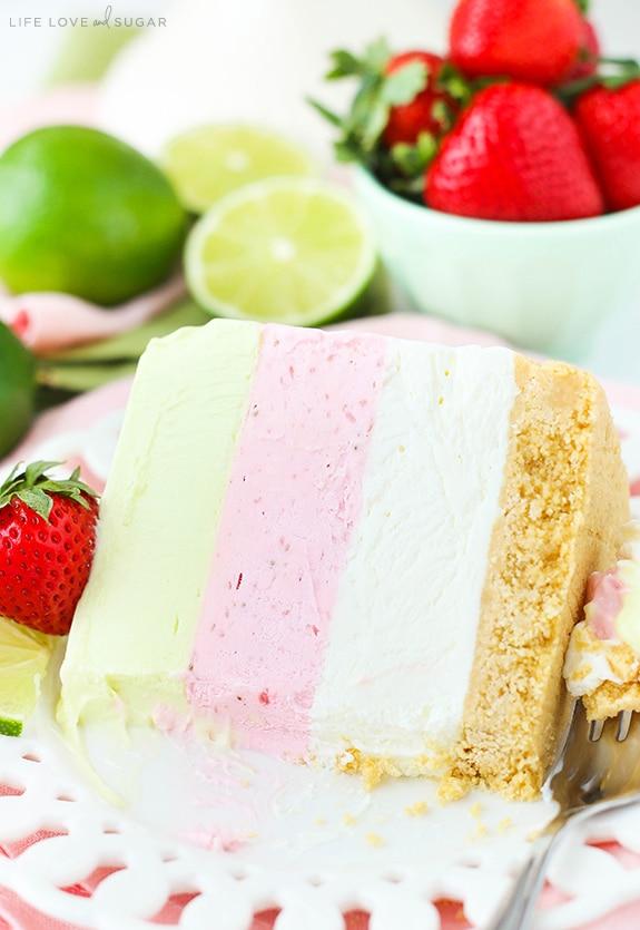 Easy Key Lime Strawberry Coconut Ice Cream Cake recipe