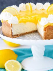 Lemon Cheesecake with slice removed