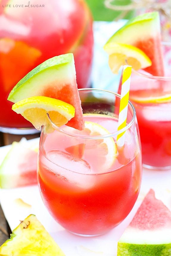 Easy Tropical Watermelon Lemonade Cocktail
