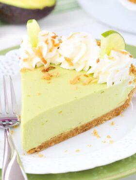 Avocado Key Lime Pie slice on a plate