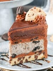 slice of Oreo Brookie Layer Cake