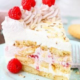 Image of a slice of Raspberry Almond Shortbread Icebox Cake