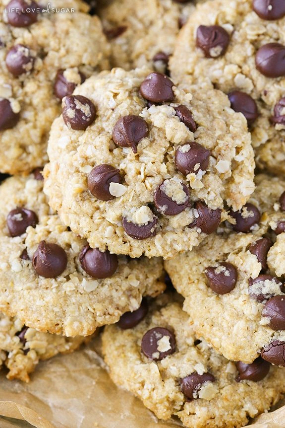 A close up of stacked Oatmeal Chocolate Chip Cookies