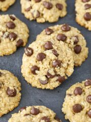 close up image of Gluten and Dairy Free Oatmeal Chocolate Chip Cookies