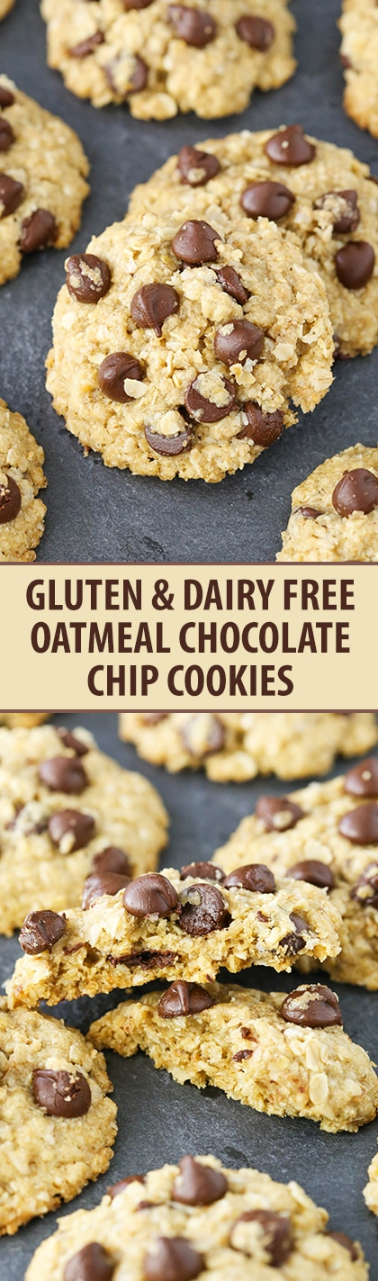 Gluten and {Mostly} Dairy Free Oatmeal Chocolate Chip Cookies! So good, easy to make and pretty normal ingredients!