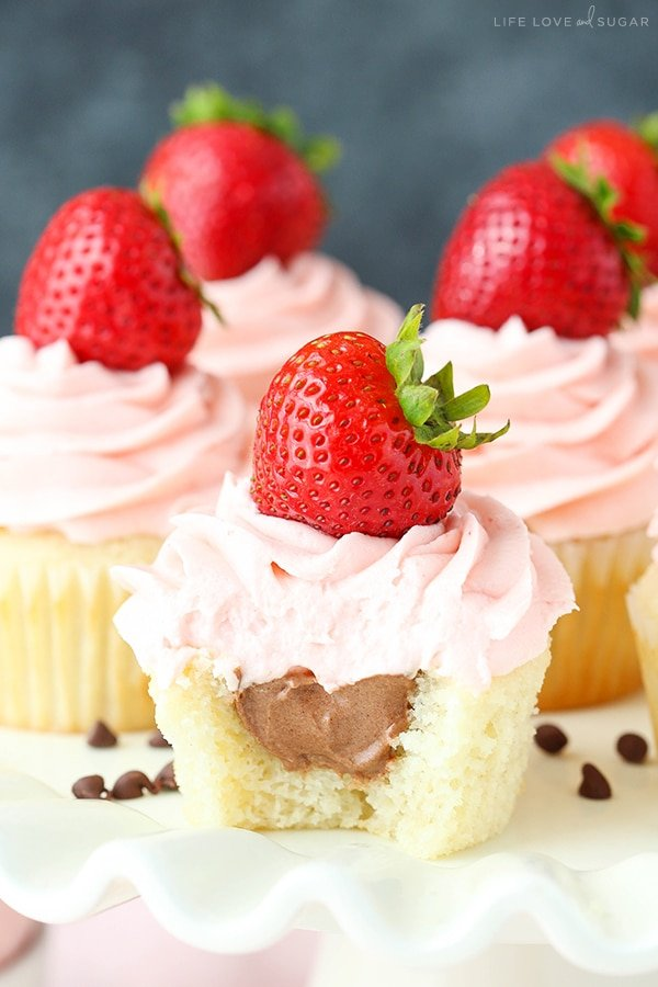 close up image of the inside of Neapolitan Cupcakes