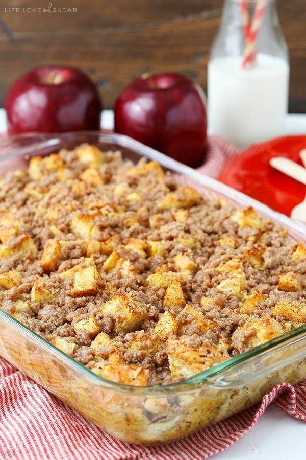 A glass baking pan filled with Cinnamon Apple French Toast Casserole