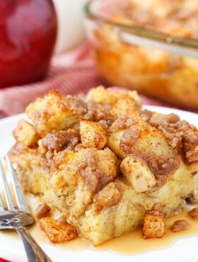 slice of Overnight Cinnamon Apple French Toast Casserole