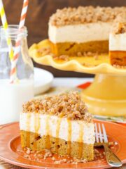 Caramel Pumpkin Spice Blondie Streusel Cheesecake on orange plate