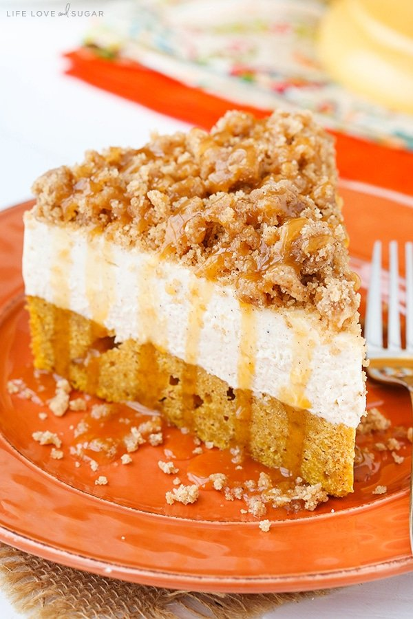 Caramel Pumpkin Spice Blondie Streusel Cheesecake