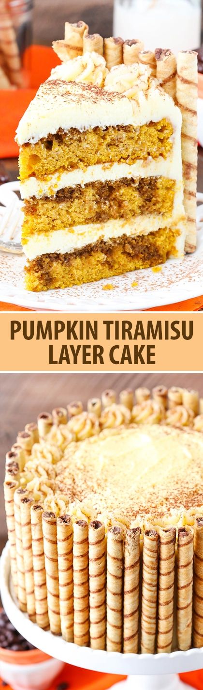 Pumpkin Tiramisu Layer Cake - pumpkin cake, kahlua and espresso, tiramisu filling and mascarpone frosting!