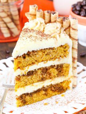 Pumpkin Tiramisu Layer Cake slice on a plate