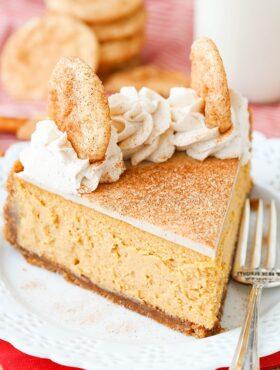 slice of Snickerdoodle Dulce De Leche Cheesecake