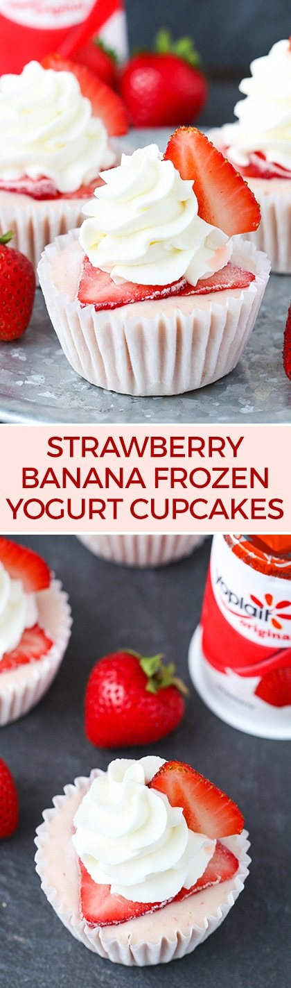 Strawberry Banana Frozen Yogurt Cupcakes! Just a few simple ingredients and so good!