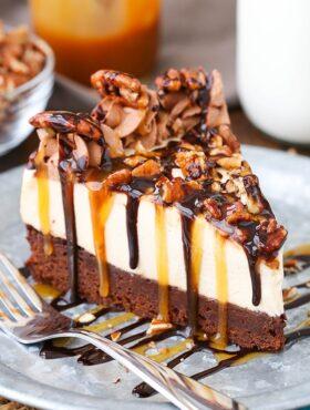 image of Turtle Brownie Cheesecake slice