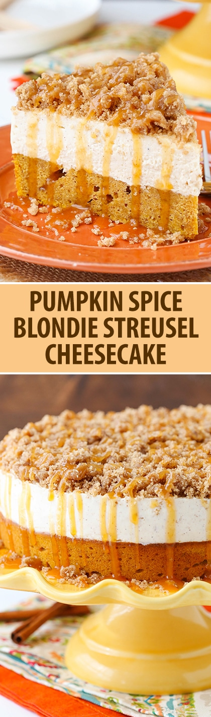 Caramel Pumpkin Spice Blondie Streusel Cheesecake - pumpkin blondie, spiced cheesecake, streusel and caramel!