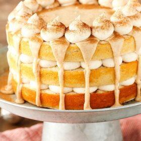 Image of Cinnamon Roll Layer Cake on cake stand