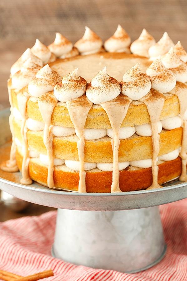 Cinnamon Roll Layer Cake! So much cinnamon! Perfect fall dessert!