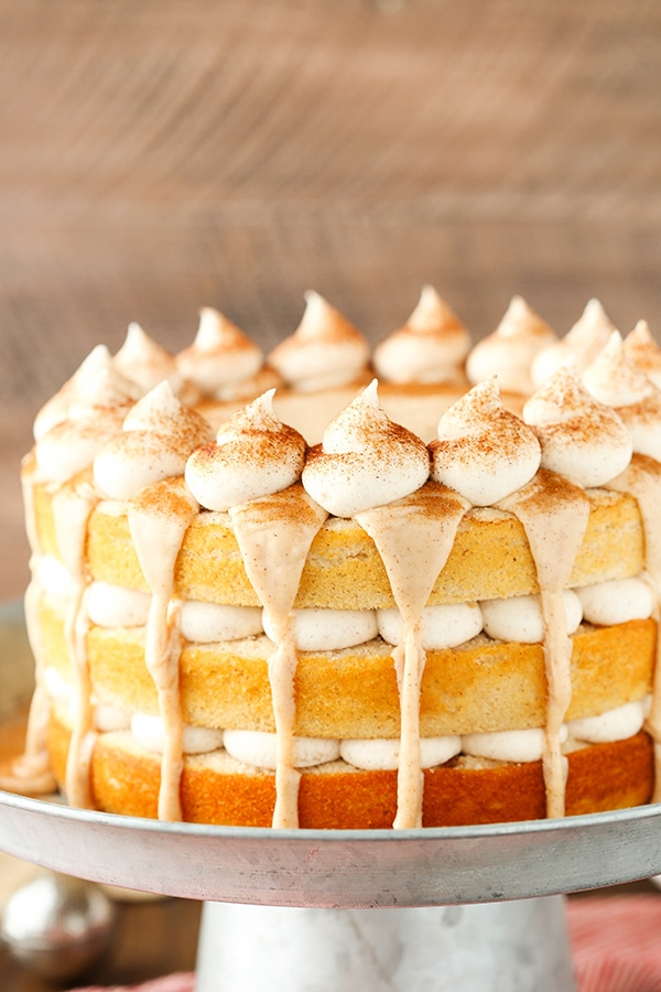 Cinnamon Roll Layer Cake! So much cinnamon! Perfect fall dessert!