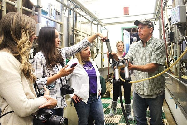 Four Food Bloggers Observing a Contraption Used for Milking Cows
