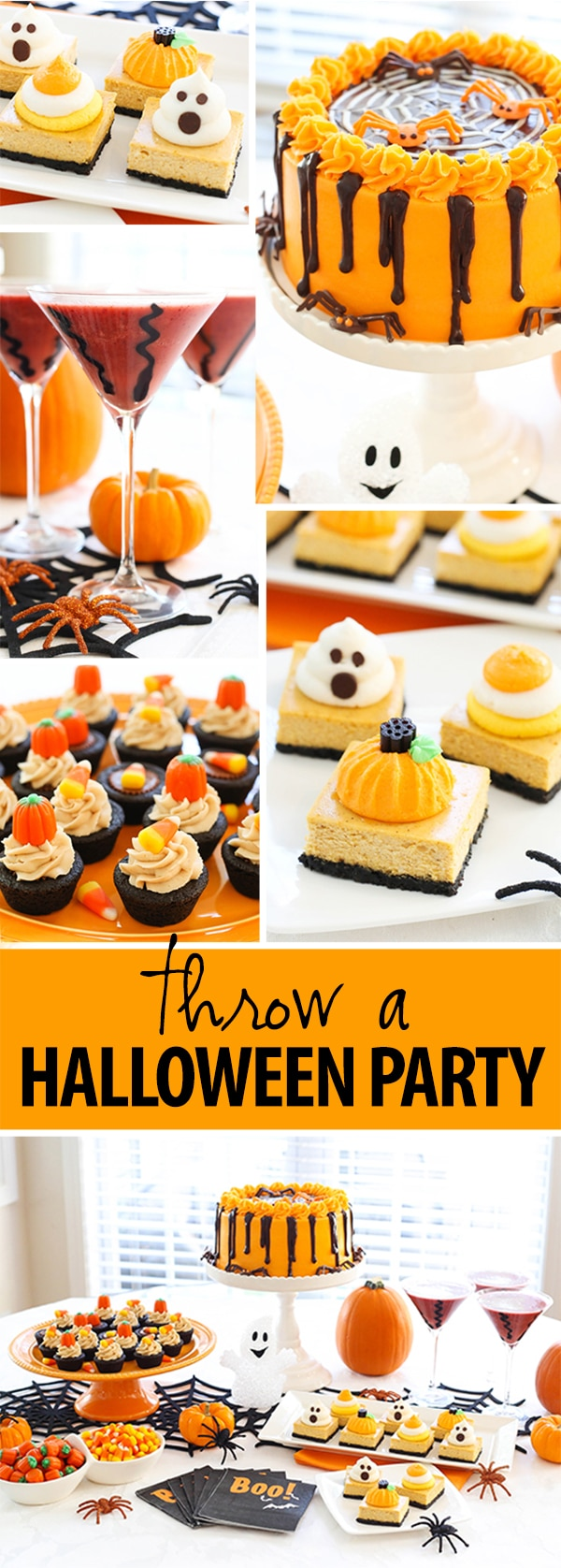 Throw a Halloween Party! Pumpkin Cheesecake Bars recipe included!