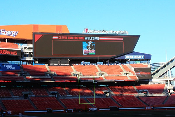 The Jumbotron at the Cleveland Browns Football Game
